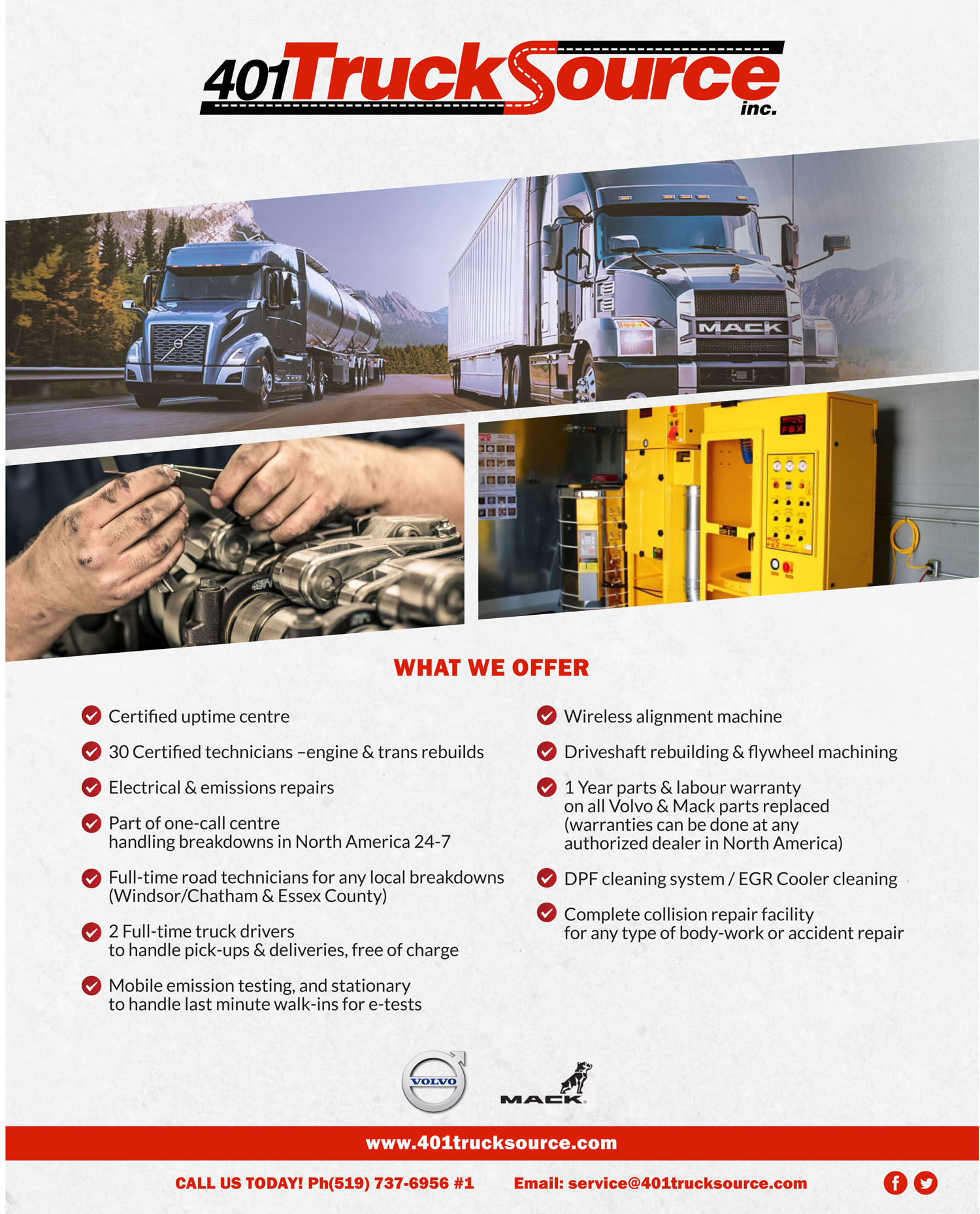 Flyer design showing a Mack and Volvo Truck along with an engine and DPF Cleaning Machine, and a list of the services offered at 401 Trucksource